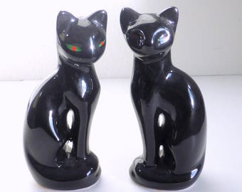 Vintage Pair of Black Ceramic Cats Red and Green Eyes Cat Lovers Decor Vintage Black Cats Feline Ephemera Sleek  Modern Cat Figures