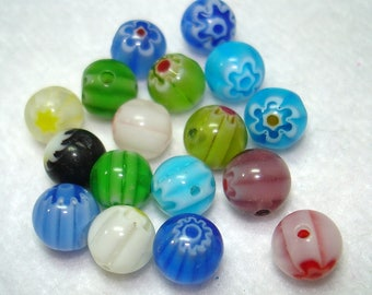 Assorted Floral Millefiori Glass Round 8mm Beads (Qty 16) - B3377