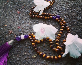 Fearsome Tigeress - Awesome Tiger Eye, Amethyst and Rose Quartz Tibetan Mala Necklace