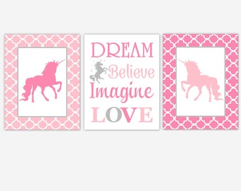 Canvas Unicorn Baby Girl Nursery Art Pink Gray Unicorns Dream Believe Imagine Love Girl Room Baby Nursery Decor Prints CHOOSE YOUR COLORS