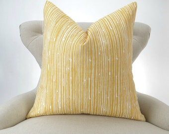 Yellow Lines Pillow Cover -MANY SIZES- Corn Scribble Premier Prints - decorative couch throw cushion pillow sham stripe