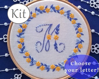 personalized Embroidery Kit , hand embroidery kit -  monogram embroidery kit - diy embroidery -  letter pattern - embroidery pattern |