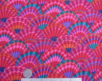 Kaffe Fassett PAPER FANS RED - Gp143 Cotton Quilt Fabric by the Yard, Half Yard, or Fat Quarter Fq Pink Purple