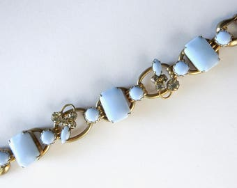 1960s Blue Milk Glass and Rhinestone Bracelet