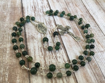 Moss Agate Traditional Five Decade gemstone Catholic Rosary with a Sacred Heart of Jesus medal