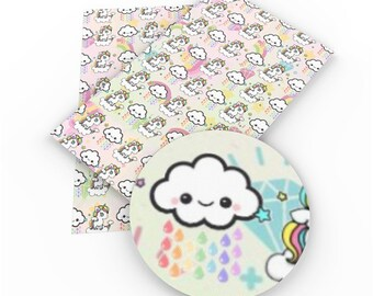 Rainbow rain cloud faux leather sheet