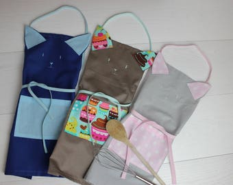 Children's aprons-kids Cook opens Kitty