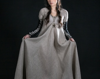 Long Dress with Detachable Sleeves; linen dress; medieval style dress