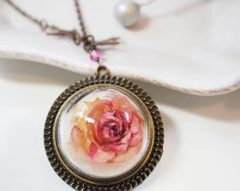 Red Rose Flower necklace - Rose flower, Glass dome pendant with chain, hemisphere - real pressed flower, botanical jewelry, gift under 55