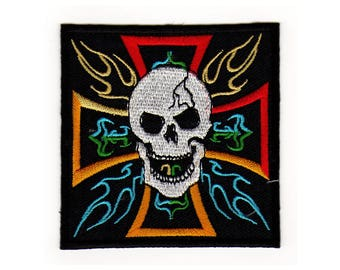 af66 Iron Cross Skull Biker patches ironing application patch patches size 7.8 x 7.8 cm