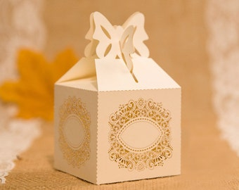 10 Rustic Laser Cut Wedding Favor Boxes