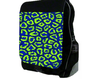 Green And Blue Leopard Print - Large Black School Backpack