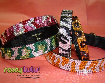 Swarovski Crystal Dog collars with Bling, Urban Jungle  Designs in 7 sizes.