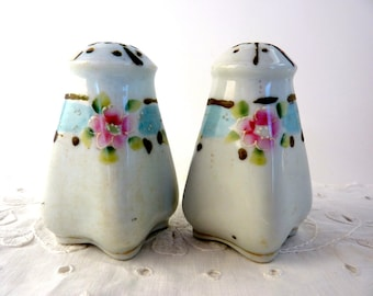 Floral Shaker Set Moriage Gilt Accents White Antique Japan Porcelain Pink Flowers Blue Band Rounded Square Shape Dome Top