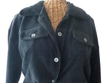 80s Corduroy Jumpsuit  Lizsport Black Unworn Size Large