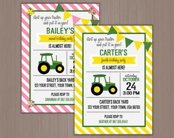 Green Tractor Invitation, Birthday Party Invitation, Farm, Barn, Country, Plow, Pink, Yellow, Green, Stripes, 1st, 2nd, 3rd, 4th, 5th, First