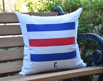 C Letter Simple Outlined 16 inch Red Decorative Geometric Throw Outdoor Pillow