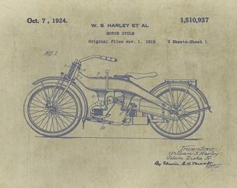 Harley-Davidson, Harley Decor, Patent Prints, Patent Art, Patent Art Print, Harley Gift, Harley Motorcycle, Harley Davidson Gift