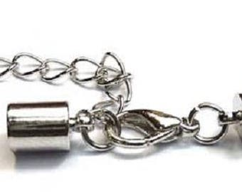 Metal clasp with end cap for cord 5mm and chain adjustment