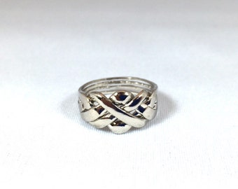 Puzzle Ring , Sterling Silver ,The Orignal Friendship Ring.