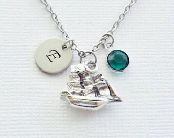 Pirate Ship Necklace Vessel Pirates Caribbean Treasure Jewelry Swarovski Birthstone Silver Initial Personalized Monogram Hand Stamped