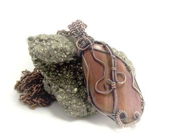 Mookaite Jasper  Pendant Wire Wrapped Gemstone  Necklace Pagan Jewellery Crystal Healing