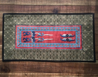 Vintage Treditional Chinese Hand Embroidery on Silk, Antique Lined Tapestry Panel,Asian Wall Decore,Chinese Art