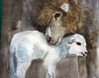 watercolor sheep and her little lamb watercolor tenderness