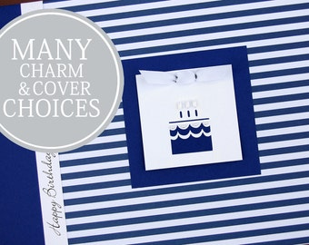 Birthday Memory Book | First Birthday Gift | 1st Birthday Gift | Birthday Album Photo Book & Journal | Boy | Interview Book | Navy Stripes
