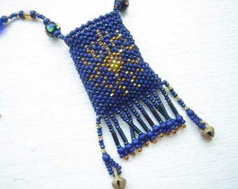 Beaded amulet pouch, bead woven pouch, bead pouch necklace, beadwoven pouch, seed bead necklace