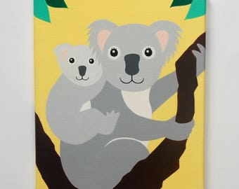 "Koala Nursery Art, Koala painting, Koala Mom and Baby, Australian Nursery decor, Koala Wall Art, Koala bear, 10"" x 12"" original artwork"