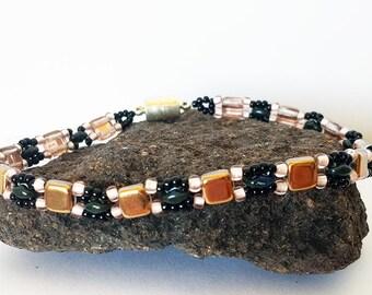 Copper Czechmate Tile Bracelet - Hand Beadwoven