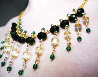 Handmade Emerald Glass and Gold Chain Necklace