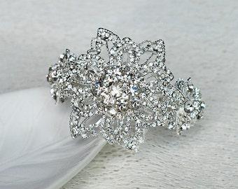 SALE Bridal Rhinestone Cuff Bracelet Crystal Wedding Jewelry Silver US BL033LX