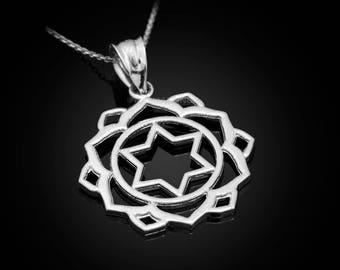 Sterling Silver Anahata (Love) Chakra Lotus Yoga Pendant Necklace