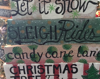 Let is snow Christmas wood signs ready to ship as shown on a wire to hang on front door