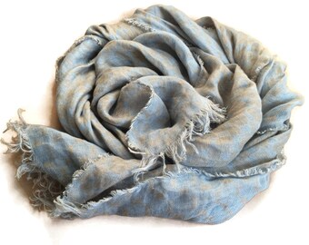 Ready to Ship, Linen Scarf, Autumn Scarf, Gray Blue Pattern Scarf, Gift For Her, Linen Shawl, Natural Scarf
