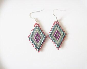 Dangle beaded earrings , Super duo earrings , Beaded dangle earrings , Beadwork earrings , Bead woven earrings , seed bead earrings