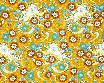 Fabric by the Yard --  Hello Love Octopus in Gold by Heather Bailey