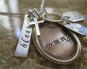 Personalized Hand Stamped Necklace Blessings Mixed Metal Collection