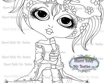 INSTANT DOWNLOAD Digital Digi Stamps Big Eye Big Head Dolls img169 Bestie By Sherri Baldy