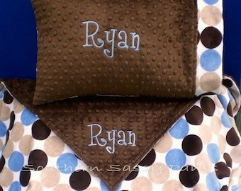 Personalized Kids Blanket and Standard Size Pillowcase Set , Minky Blanket , 36x48