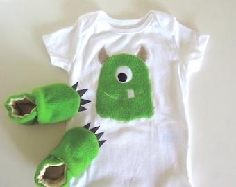 Baby Shower Gift Set Monster Baby in Green