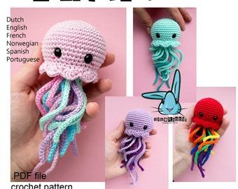 Kawaii Jellyfish - amigurumi crochet  pattern. PDF file. Languages - English, French, Norwegian, Dutch, Spanish, Portuguese