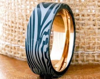 Tungsten Ring Tungsten Wedding Ring Mens Women's Wedding Bands Promise Anniversary Engagement 8mm Zebra Tungsten Ring Matching Ring Set New