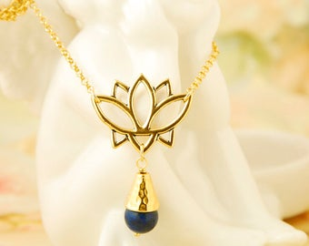 Lapis Lazuli Necklace Gold Lotus Necklace Yoga Necklace Lotus Chakra Pendant Lapis Lazuli Jewelry Lotus Flower Necklace Mothers Day Gift