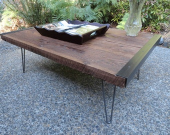 Custom Outdoor Undercover Coffee Table from old barn wood with hairpin legs