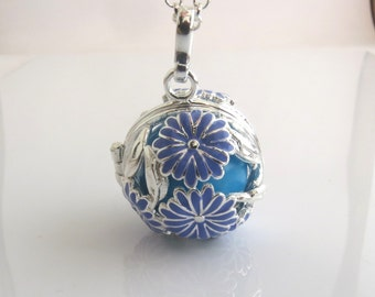 Blue lotus harmony ball , Mexican bola , flower harmony ball , angle caller pendant , spiritual jewelry , pregnancy gift , new age jewelry