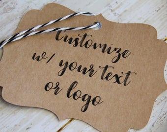 YOUR TEXT HERE, Bracket Tags, Custom Logo, Custom Printed Tags, Marketing, Branding