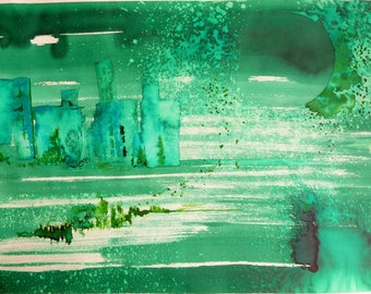 Astral wind - painting contemporary imaginary landscape - colored inks and Advanced China ink on A3 paper - 29.7 X 42 cm